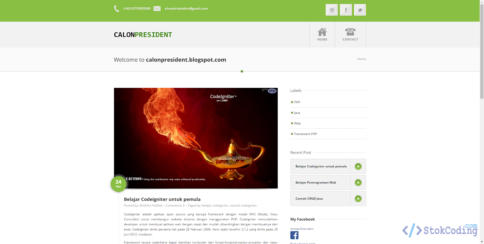 Sistem Aplikasi Blog Berbasis Web (Codeigniter)