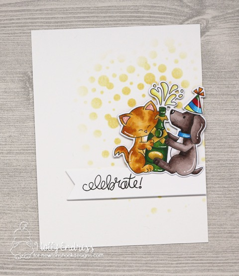 Celebrate Card by Holly Endress | Newton Celebrates Stamp Set and Bubbly Stencil by Newton's Nook Designs #newtonsnook #handmade