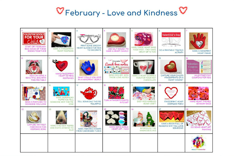monthly themed kids activity calendar for February.  Love, kindness and Valentines themed activities for toddlers, preschoolers and older kids.
