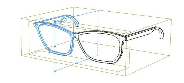 operación de simetría aplicada a la mitad de la montura de las gafas
