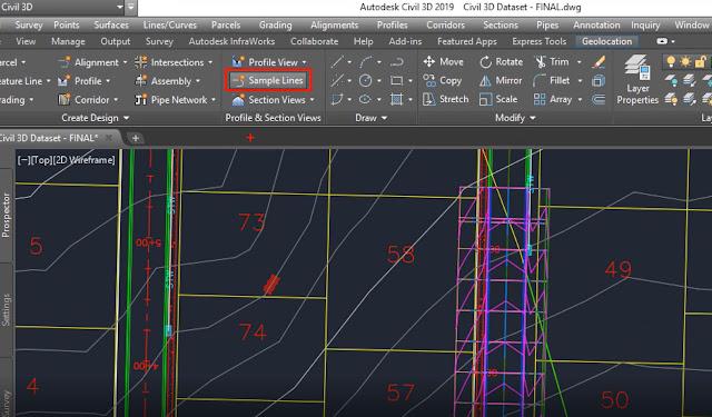 Sample Lines tool in Autodesk Civil 3D