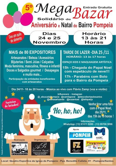 5º Mega Bazar Solidário de Natal: Aniversário e Natal do Bairro Pompéia em Santos