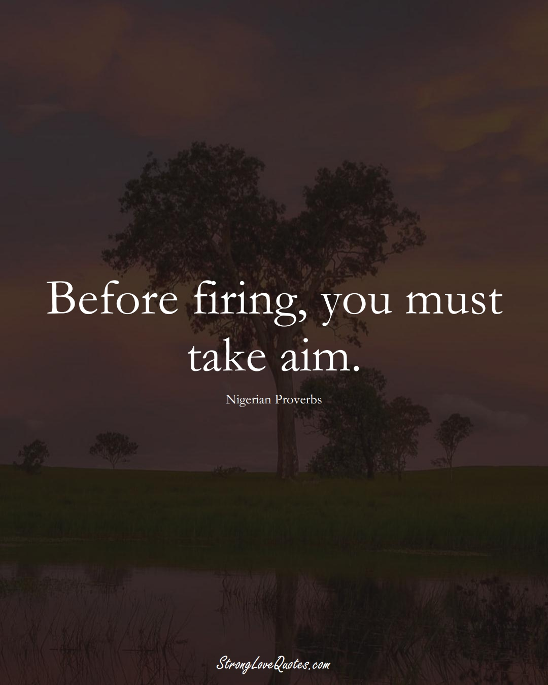 Before firing, you must take aim. (Nigerian Sayings);  #AfricanSayings