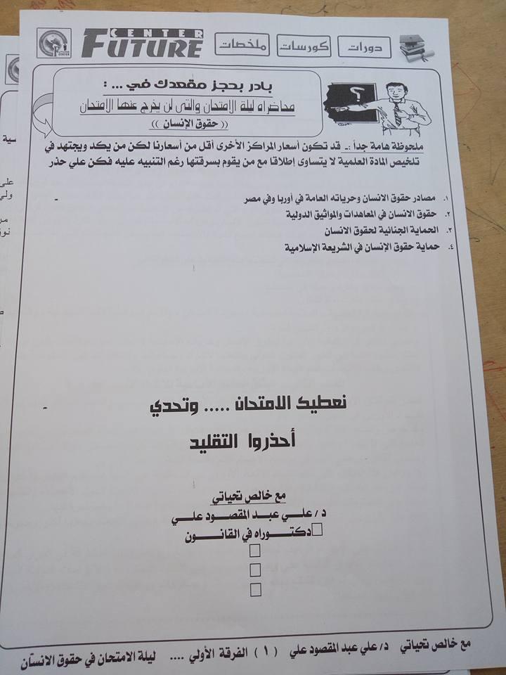المراجعة النهائية حقوق الانسان الفرقة الاولي تجارة عربي كلية شبين الكوم جامعة المنوفية