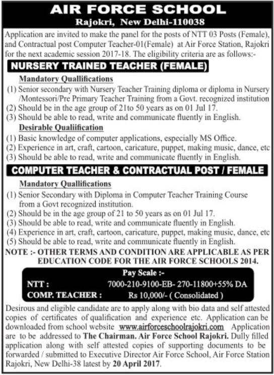 Air Force School Rajokri Recruitment 2017