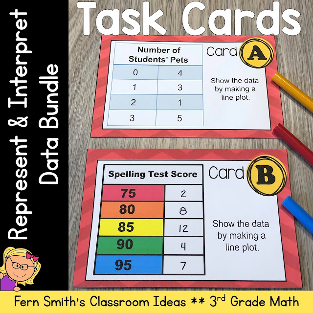 Click Here to Download This Third Grade Math Represent and Interpret Data Task Cards Bundle Today!