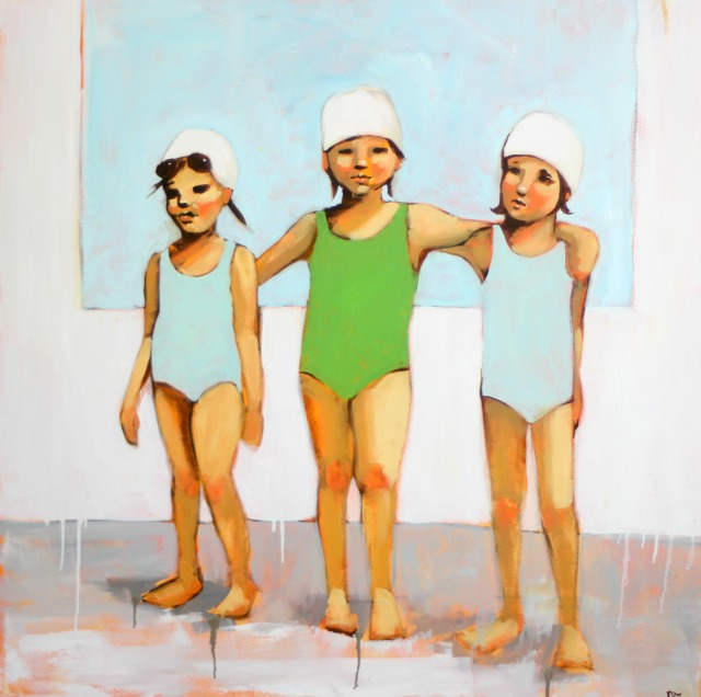painting of girl swimmers, figurative art, blue and white