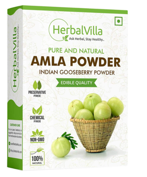 Herbalvilla Amla Indian Gooseberry Powder for Hair Growth (250 Grams), Black Colour, Drinking and Eating
