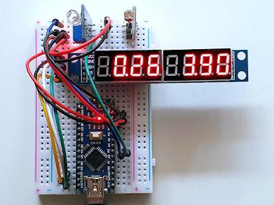 Afișare valori numerice pe display cu MAX7219