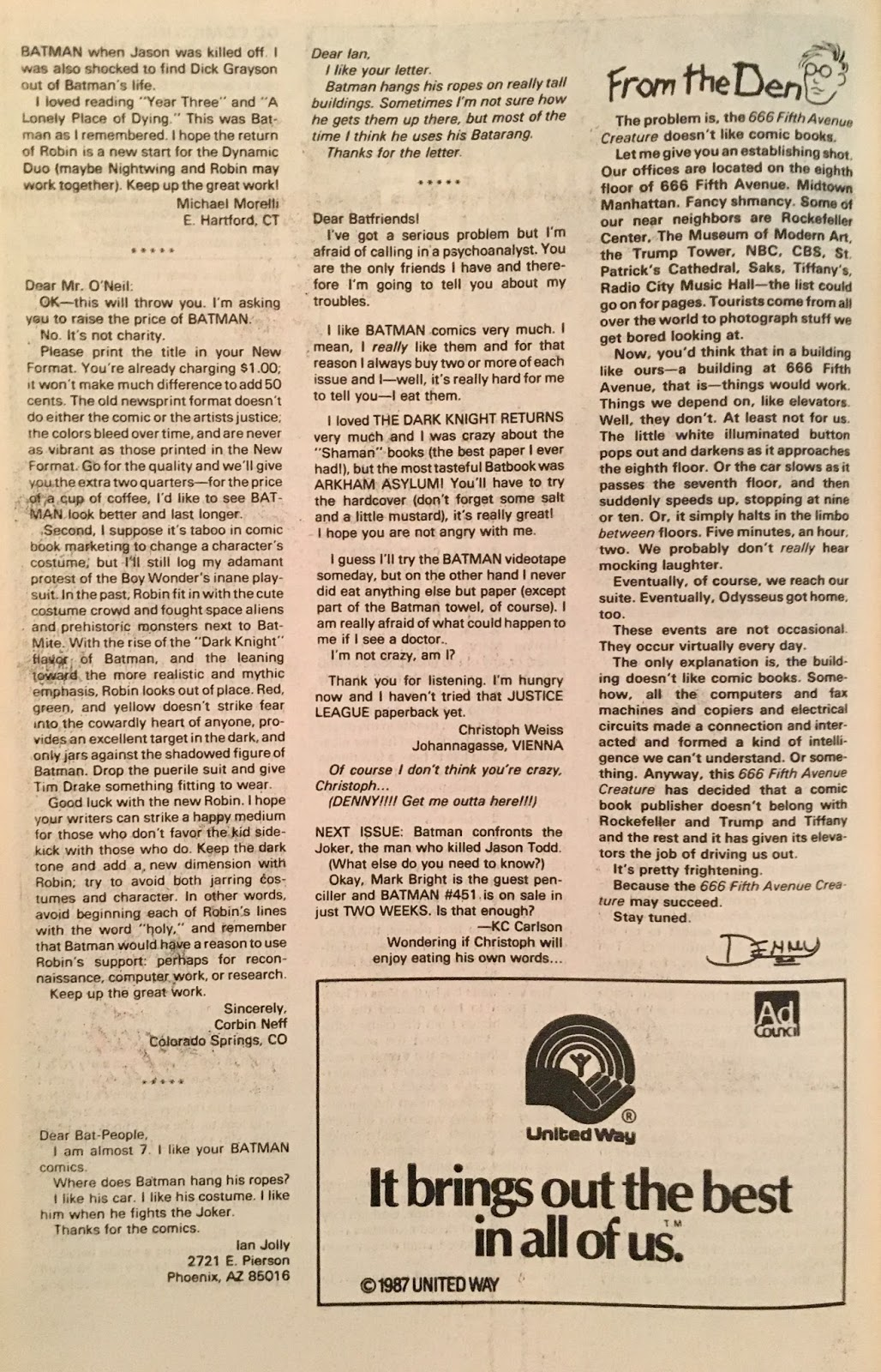 Chris is on Infinite Earths: Batman #450 (1990)