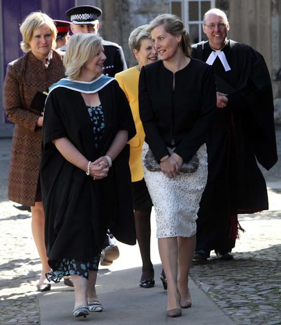 Sophie,Countess of Wessex wore Burberry London Lace Pencil Skirt, Sandro Valina Jacket, Prada Suede Pumps