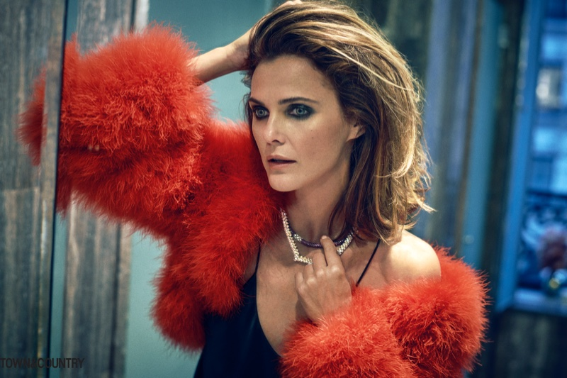 Keri Russell poses in Ralph Lauren Collection shrug and Olivia Von Halle camisole