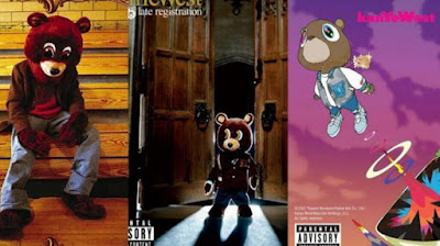 WHAT IS THE NAME OF THE BEAR MASCOT USED ON THE COVERS KANYE'S FIRST THREE ALBUMS?