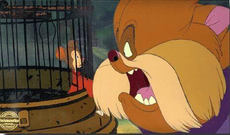 Tiger talking to Fievel Fievel Mousekewitz An American Tail animatedfilmreviews.filminspector.com