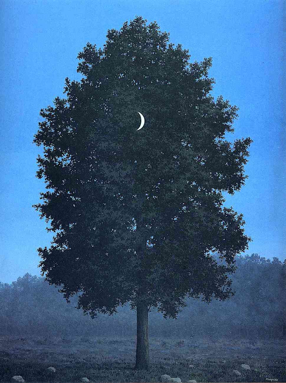 a Rene Magritte painting of a tree with moon