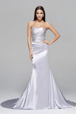Elegant Luxious Beaded Sheath Long Silver Satin Formal Evening Dress