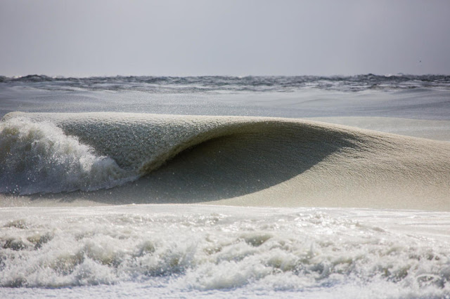 He saw the ocean waters forming this way. When he zooms in, he noticed something stunning!