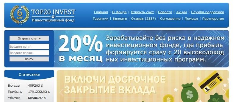 Мошеннический сайт top20invest.com – Отзывы, развод, платит или лохотрон? Мошенники