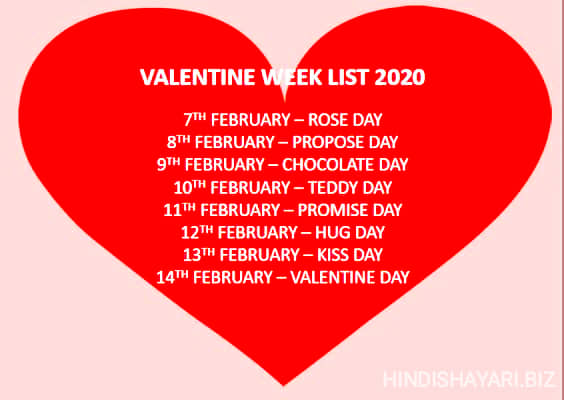 7 फरवरी से 14 फरवरी तक कौन सा दिन है? - Which Day is 7th Feb to 14th Feb? | Valentine Week List Dates Schedule Full List 7th-14th February