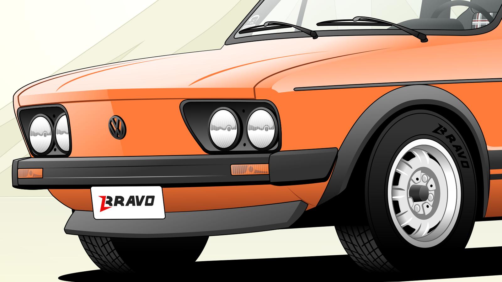 Imagem o detalhe da dianteira do Volkswagen Brasilia ''V''