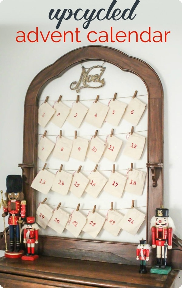 DIY advent calendar using an old frame