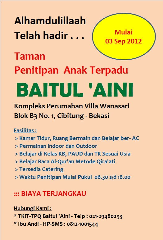 Tkit Tpq Baitul Aini September 2012