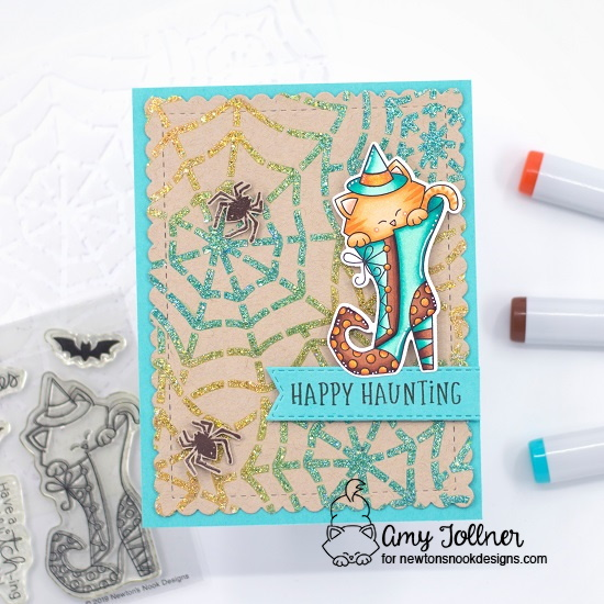 Happy Haunting by Amy features Banner Trio, Frames & Flags, Spooky Street, Witchy Newton, Spiderweb,  and Spooky Roundabout by Newton's Nook Designs; #inkypaws, #newtonsnook, #halloweencards, #cardmaking, #catcards