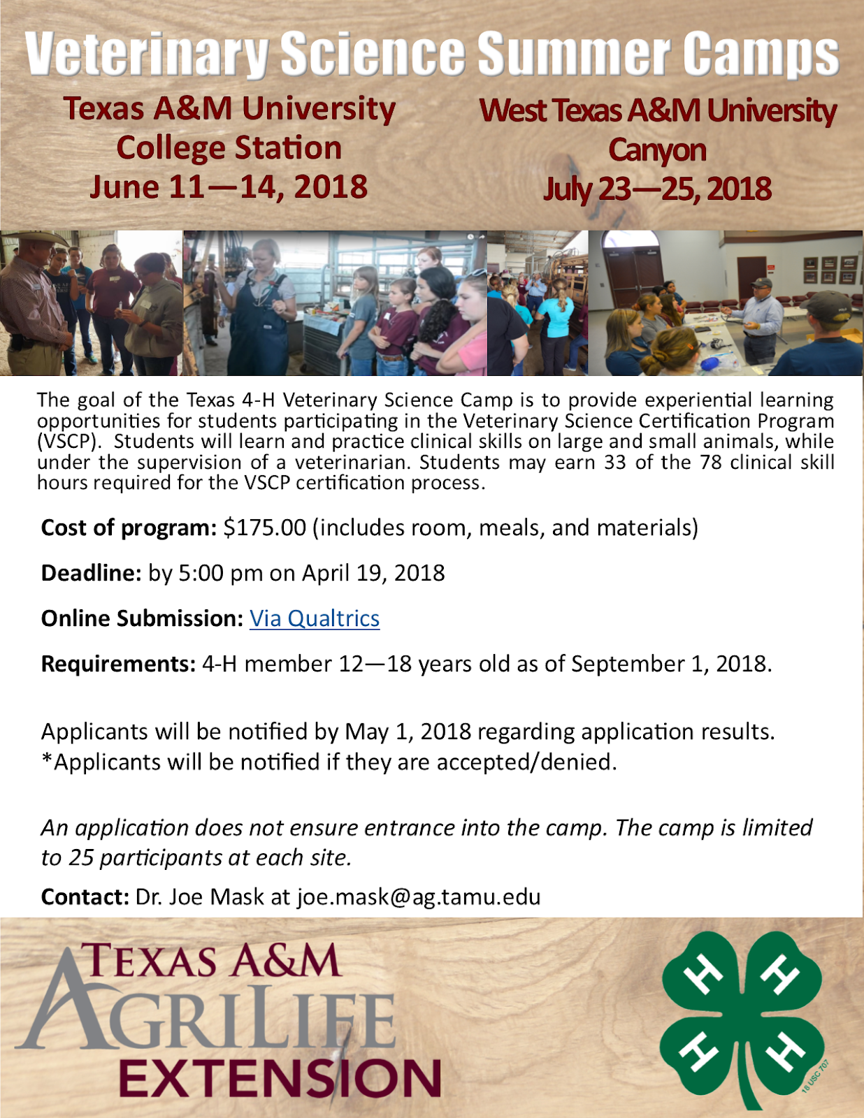 Texas 4 H Roundup Texas 4 H Veterinary Science Camp Offered