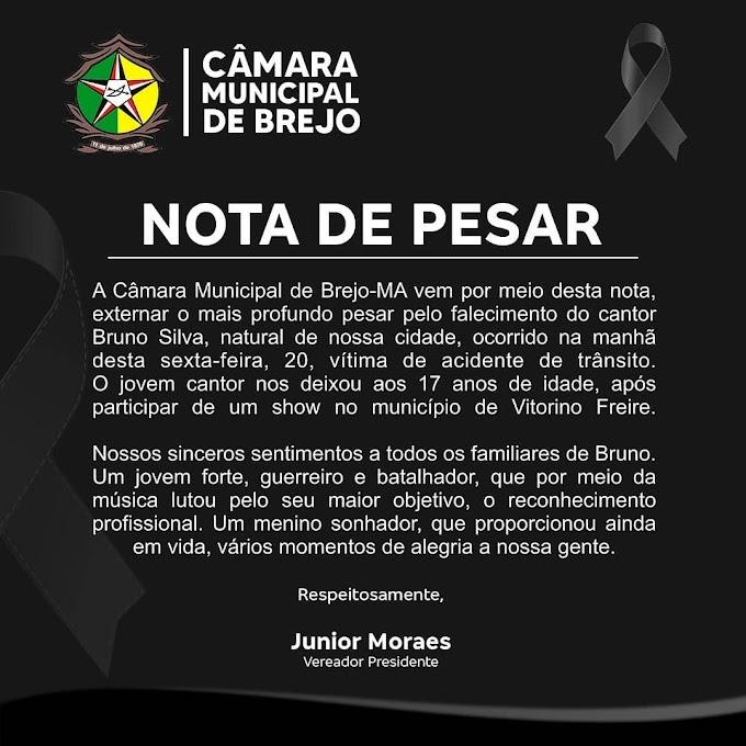 Câmara Municipal de Brejo-  MA externa Nota de Pesar pelo falecimento do Cantor Bruno Silva.