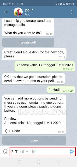 cara membuat absensi dari telegram