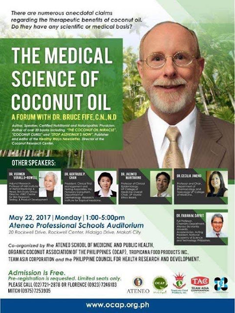 First forum on the Medical Science of Coconut Oil happening on 22nd May 2017
