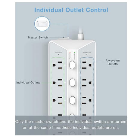 TESSAN Extension Cord 6 Feet Flat Plug with 12-Outlets