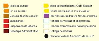 QUE SIGNIFICAN LOS COLORES EN EL CALENDARIO SEP