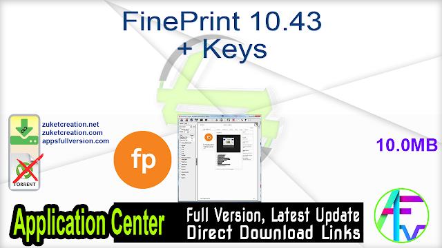 FinePrint 10.43 + Keys