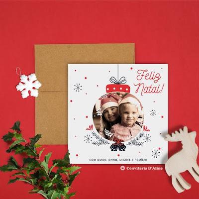 cartão natal foto presente boas festas