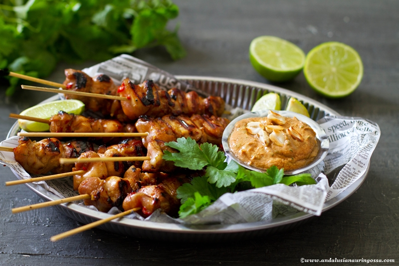 Asian marinated chicken skewers and satay sauce 2