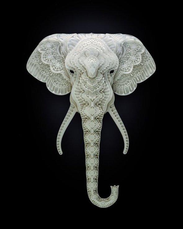 Patrick Cabral behance arte animais papel cortado espécies ameaçadas extinção wwf Elefante