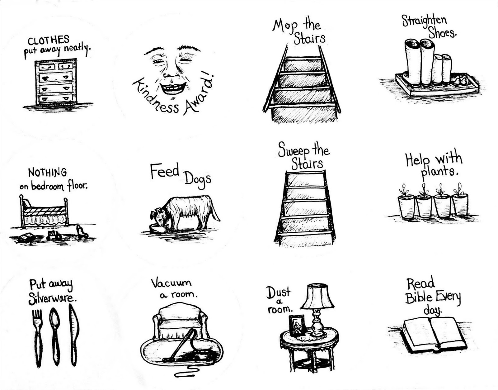 Black And White House Chores Pictures To Pin