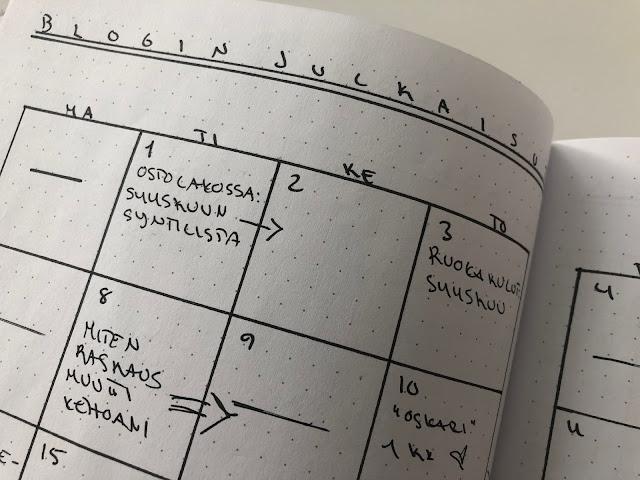 Blogin julkaisukalenteri bujossa, joka oli lokakuun osalta valitettavan tyhjä kiireisen vauvaelämän johdosta