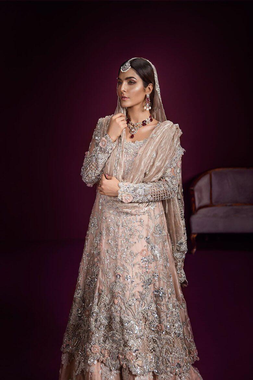 Blush pink Pakistani bridal wear lehnga from Daria-e-Nur collection byAmmara Khan