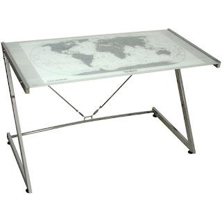 mesa escritorio acero cristal actual