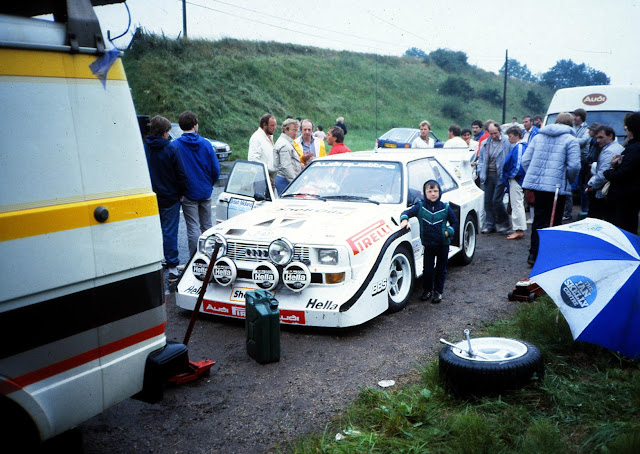 Group B Audi Sport quattro S1 E2 Rally Car Being serviced at road side