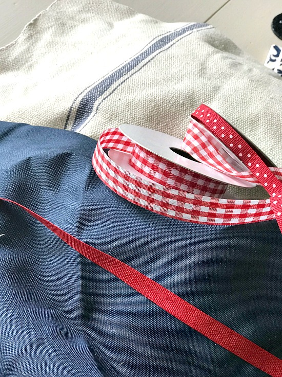 red, white and blue fabric and ribbon