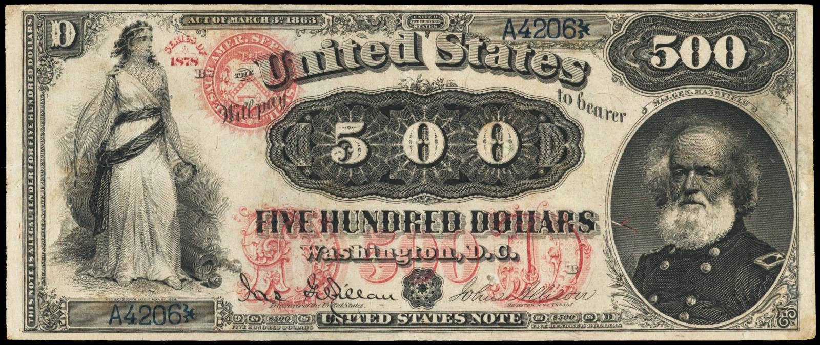 US currency 500 Dollar bill Legal Tender Note Major General Joseph King Mansfield