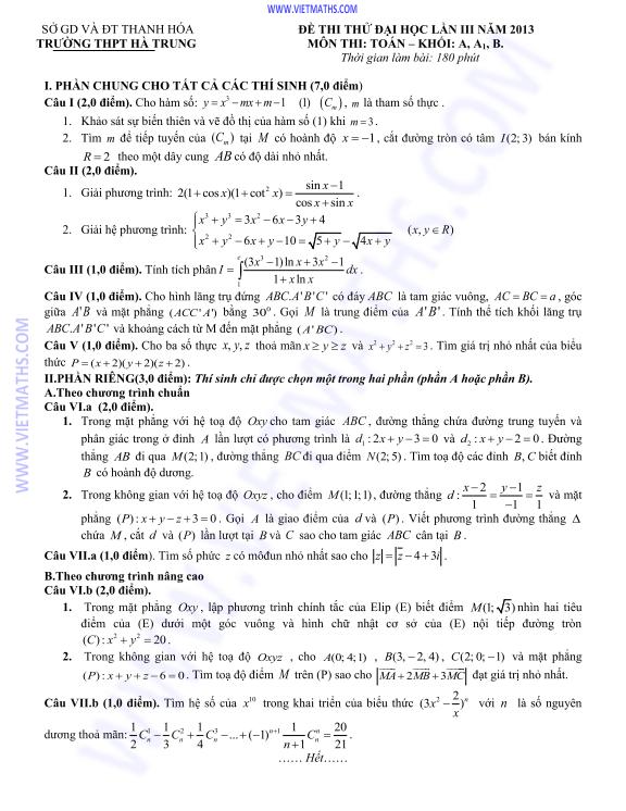 đề thi thử toán lần 3 thpt hà trung thanh hóa