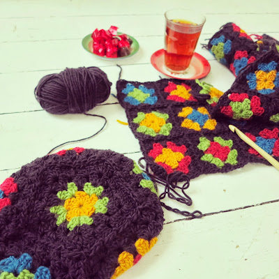 ByHaafner, crochet, granny squares, scarf and hat