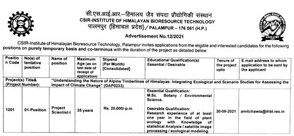 IHBT Palampur Plant Ecology Scientist Vacancy