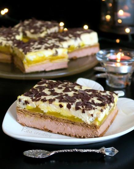 ciasto brzoskwiniowo kakaowe bez pieczenia