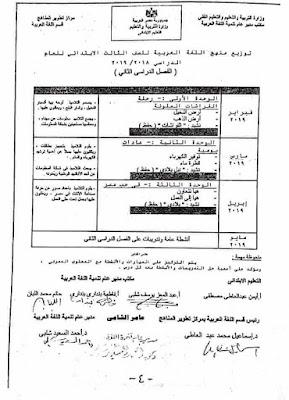 توزيع منهج اللغة العربية للصف الثالث الإبتدائي لعام 2021