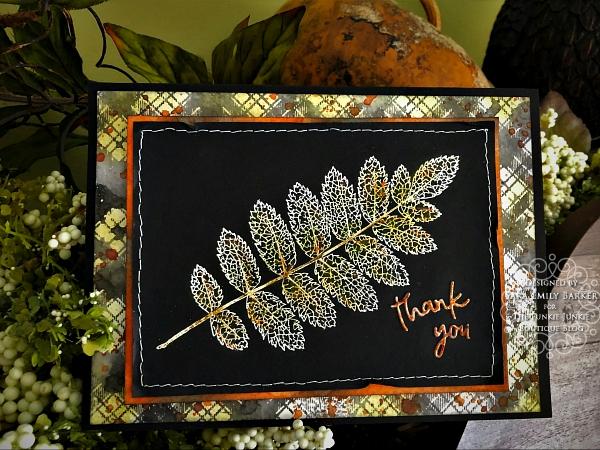 Sara Emilyl Barker https://sarascloset1.blogspot.com/2019/11/fabulous-fall-thank-you-card-for-funkie.html Tim Holtz Pressed Foliage Perfect Plaids Card 1